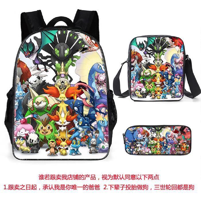 3 Pack Sac à Dos Sac d'ordinateur,Pokemon Pikachu Sac à Dos d'impression Sac à Dos Bookbag Femmes Sac porté Dos Scolaire 27