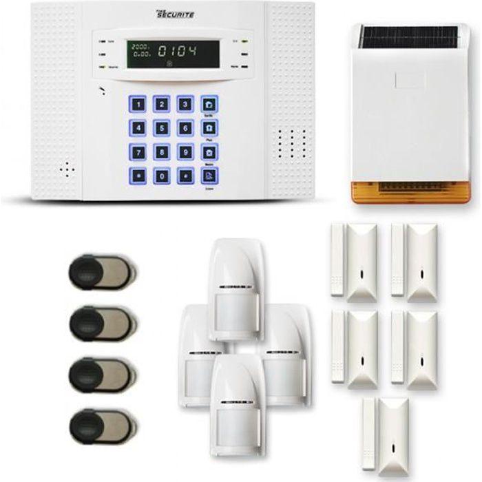 Alarme maison sans fil DNB 4 à 5 pièces mouvement + intrusion + sirène extérieure solaire - Compatible Box internet