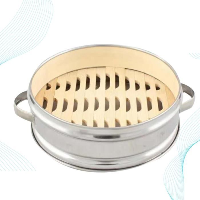 Panier à vapeur en acier inoxydable à deux poignées Support à à fond en bambou Boîte à portable pour AUTOCUISEUR - COCOTTE MINUTE
