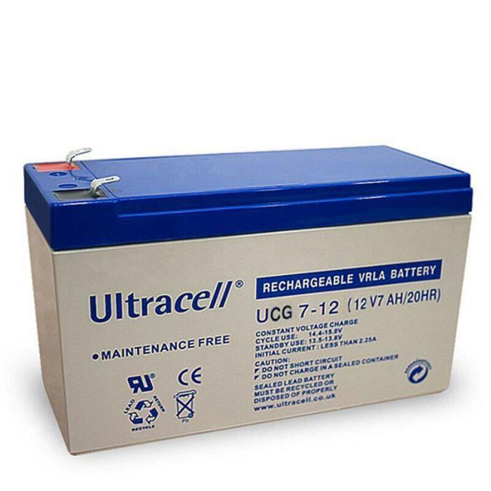 BATTERIE GEL RECHARGEABLE AGM UCG 12-7 ULTRACELL12V 7AH