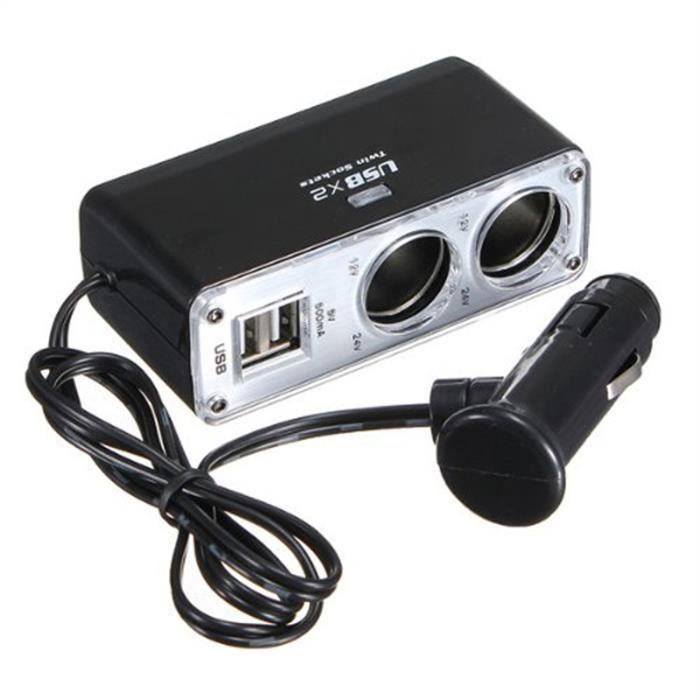 WF-0023 Adaptateur Double USB Prise Allume-cigare Chargeur Voiture (Noir)