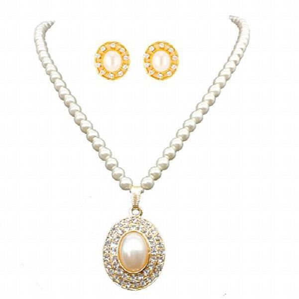 Womens White Pearl Pendant Necklace Set ForMO884