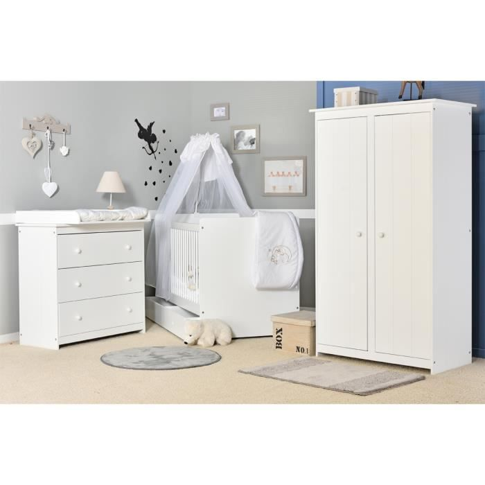 Chambre b b compl te volutive blanche grain d orge made in france blanc - Chambre bebe cdiscount ...