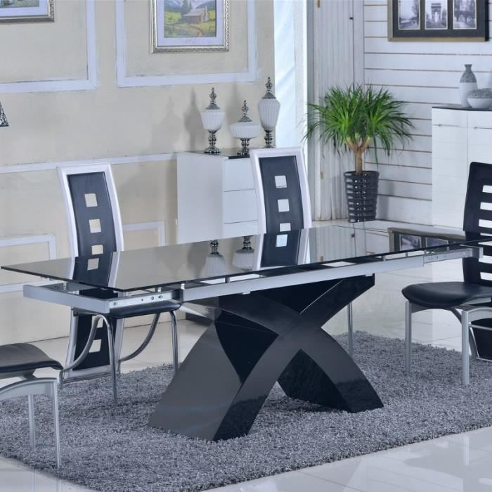 table en verre noir rallonges extensible elix achat vente table manger seule table en. Black Bedroom Furniture Sets. Home Design Ideas