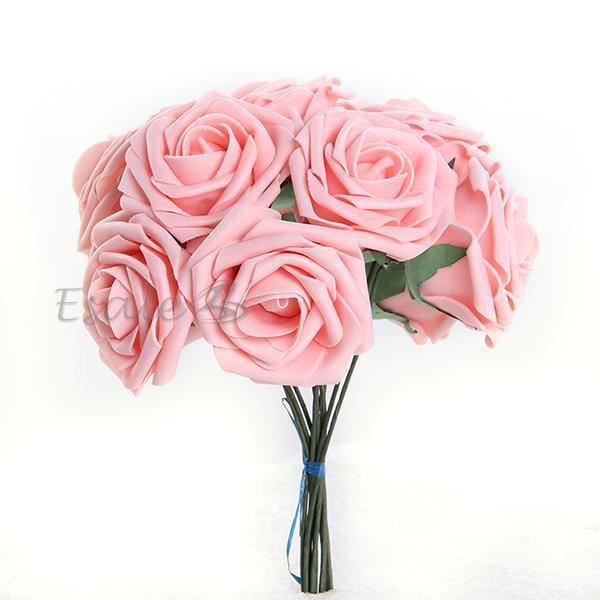 Bouquet 10pcs fleur artificiel roses en mousse ros d co for Achat bouquet de fleurs