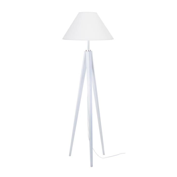tosel lampadaire tr pied bois massif c rus blanc idun style scandinave abat jour conique en. Black Bedroom Furniture Sets. Home Design Ideas
