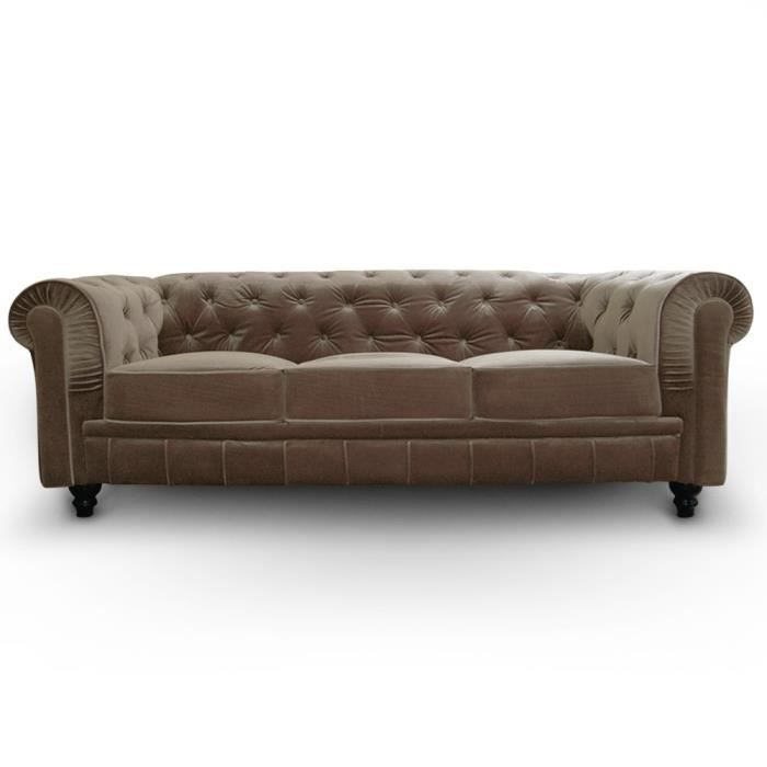 Canap chesterfield velours 3 places taupe luxe achat for Canape chesterfield velours