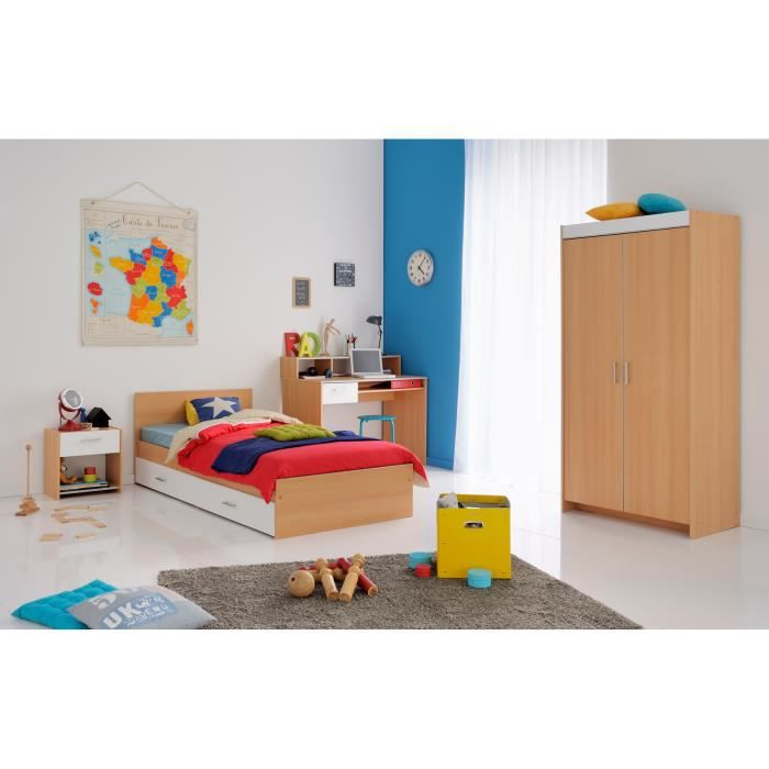 Chambre enfant contemporaine coloris h tre blanc spoon ii for Axel chambre complete adulte 140 cm reglisse mastic