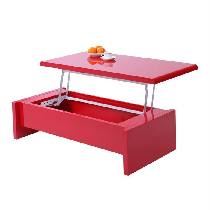 Table basse design relevable laqu e rouge lola achat - Table de salon transformable ikea ...