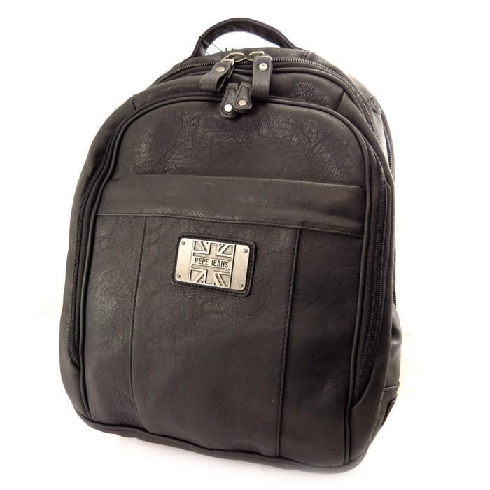 bagages sacs maroquinerie sac a dos pepe jeans noir vintage special or f  pep