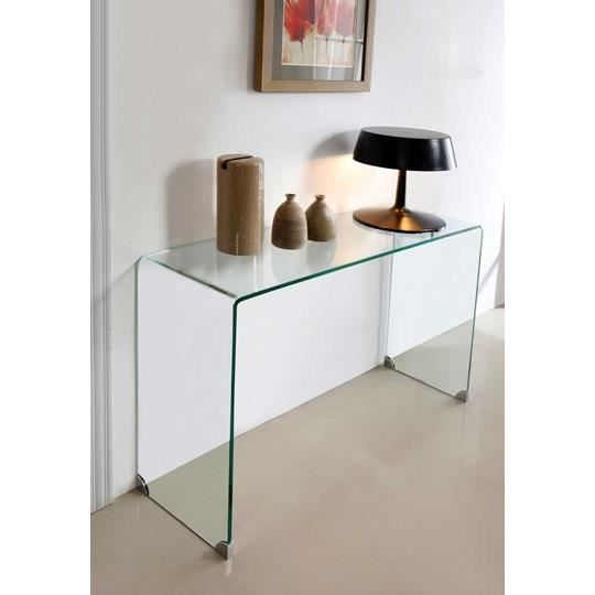 Console bridge transparente 90 cm achat vente console console bridge tran - Table console en verre trempe ...