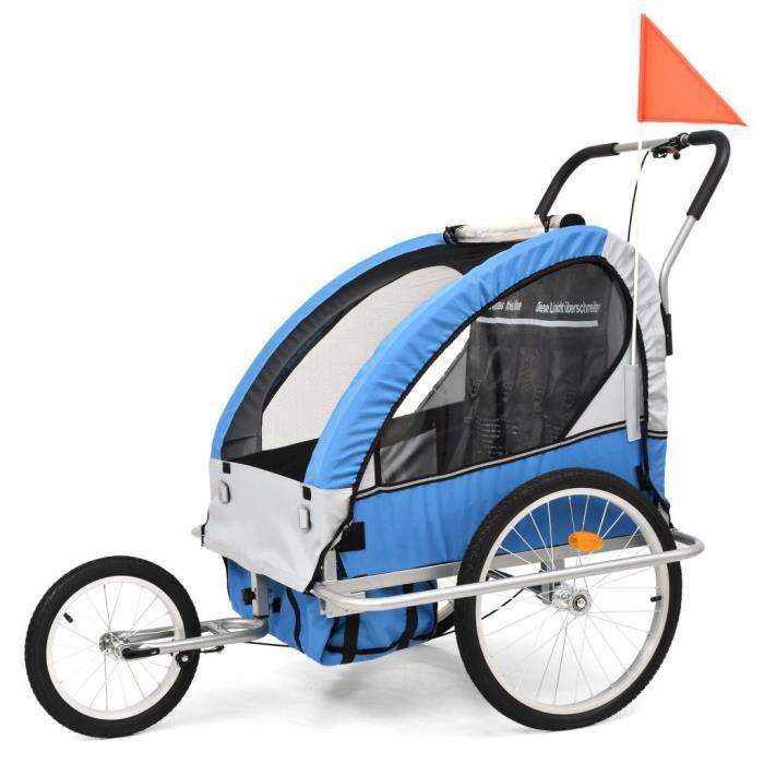 vidaXL Remorque de Vélo pour Chiens et Poussette 2-en-1 Gris et Bleu Animaux