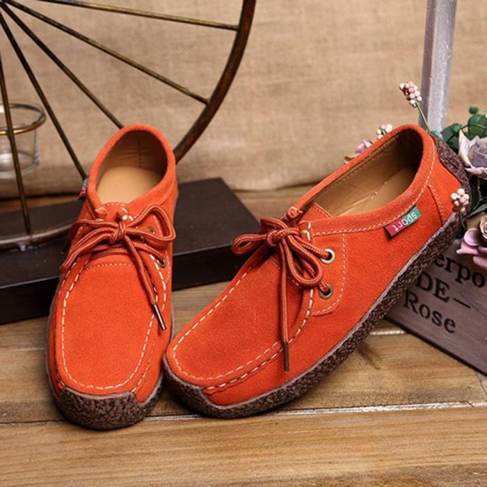 Mode femme fond plat fond antidérapant Sangle de loisirs sneakers Peas Orange