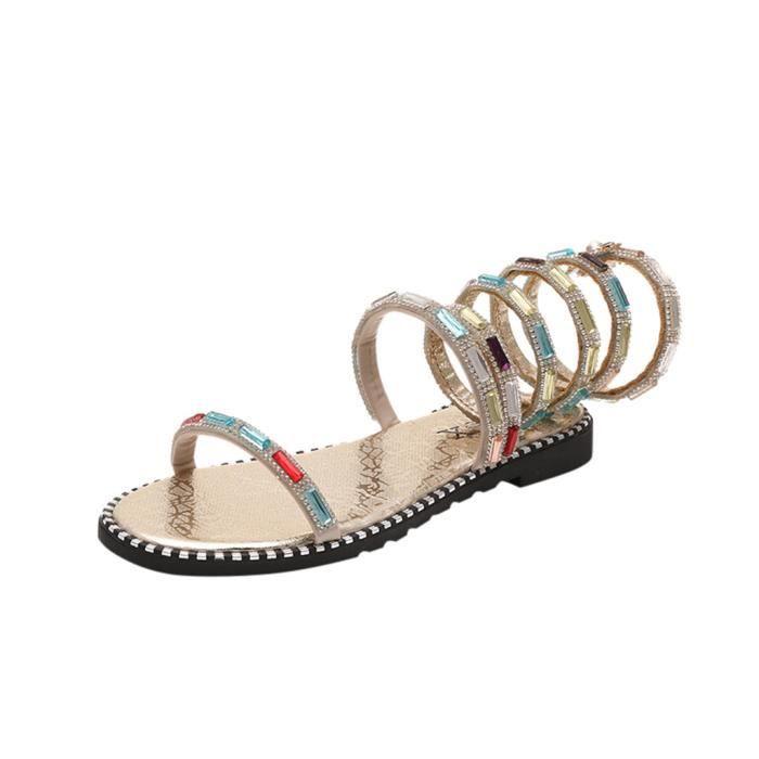 Chaussures Casual été Straps à fond plat avec Sandales Chaussures ouvertes RomainesLCC90426204GD37Jaune