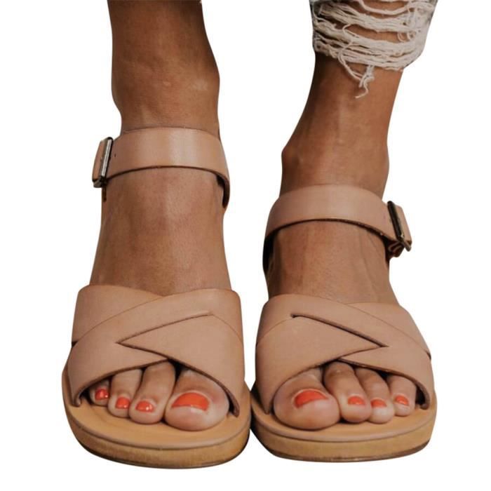 yangledu®Mode Rétro Femmes Flats Boucle sangle bout rond épais fond Spartiates  marron
