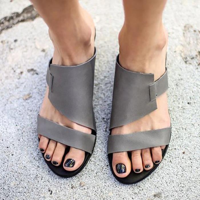 Retro Femmes Flats toes Chaussures cheville Romaines Chaussures de plage Chaussons Roman   gris