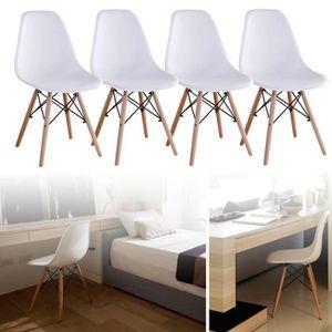 CHAISE Lot de 4 chaises de salle à manger-Blanc