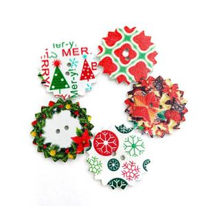 50pcs bois boutons de flocon de neige arbre de Noël 2 boutons de trous pour