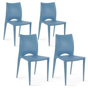 FAUTEUIL JARDIN  Chaises de jardin en plastique Lot de 4 Bleu