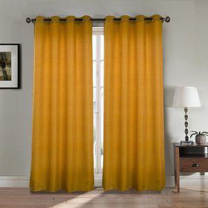 RIDEAU Paire double rideaux 140x260 cm Orange - Effet lin