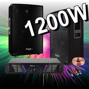 PACK SONO PACK SONO 1200W AVEC AMPLI SONO + 2 ENCEINTES 600W