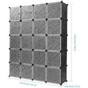 ARMOIRE DE CHAMBRE Armoire Penderie 16 Cubes LANGRIA Modulable Meuble