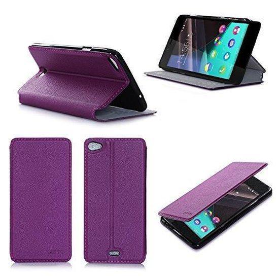 Etui coque Wiko PULP 4G 5 pouces violet - Housse pochette