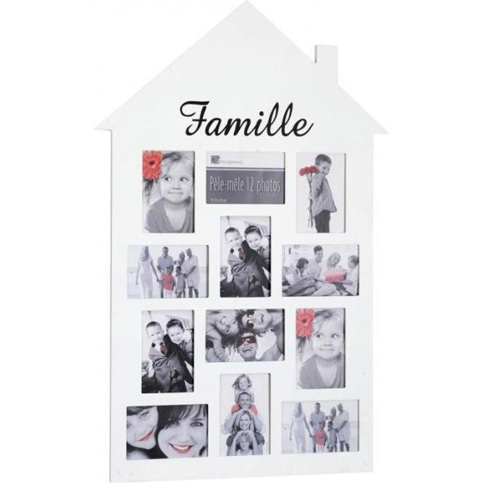 Cadres & pêle-mêle - Pêle-mêle 12 photos - Cadre multi photos en forme de maison - Blanc 1 cm