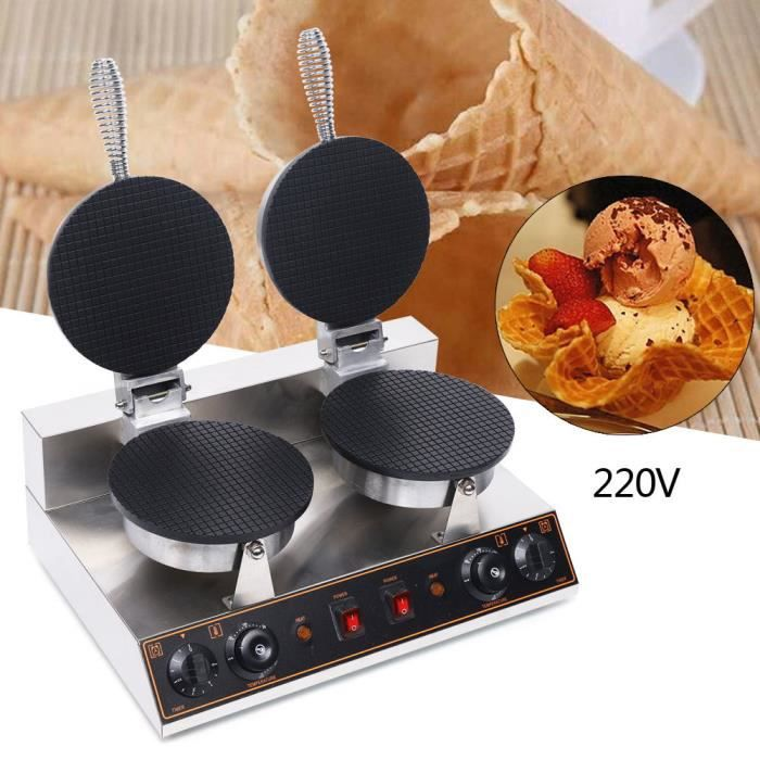 220V 1200W Machine électrique antiadhésive de gaufrier de cône de crème glacée