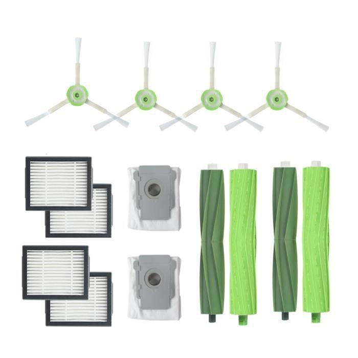 Pour IRobot Roomba i7 + / i7 Plus E5 E6 E7 Brosse latérale et filtres Hepa Brosse à poils