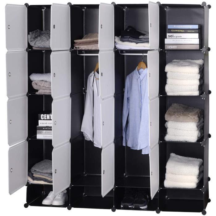 WOLTU SR0090sw Armoire Plastique Chambre Faite de modules avec 2 Tringle à vêtements pour Le Stockage de vêtements, Accessoires, Jou