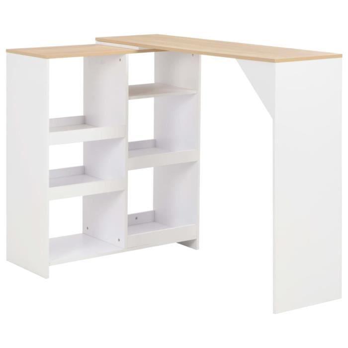 *6713SALE Table de Bar Haute de 2 à 4 personnes Table de Comptoir-Table de Bar Extérieur-Mange-debout avec tablette amovible Blanc 1