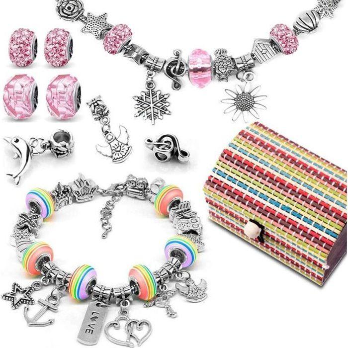 Loisirs Créatifs Cadeau Fille Kit de fabrication de bracelet avec Pendentifs Charme Chaînes Perles Plaqué Argent pour fabrication