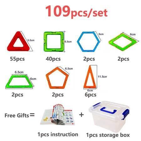Maquette,109 pièces 3D conception magnétique Construction blocs de Construction modélisation Construction jouets - Type Vert armée