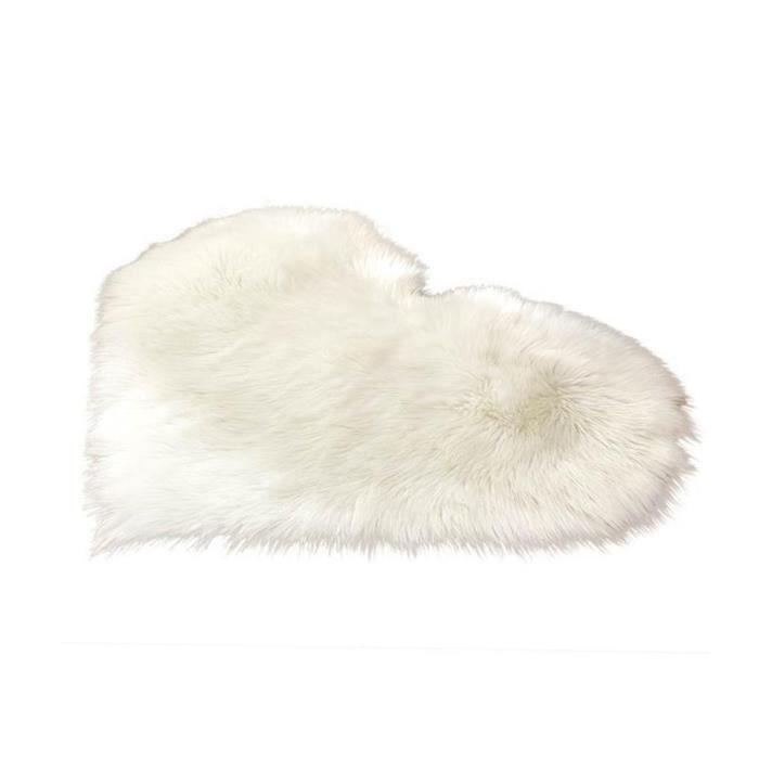 YepYes Faux laine coeur Tapis blanc Décoration Tapis de sol Coussin Pad Fluffy Zone Tapis souple en fausse fourrure Tapis