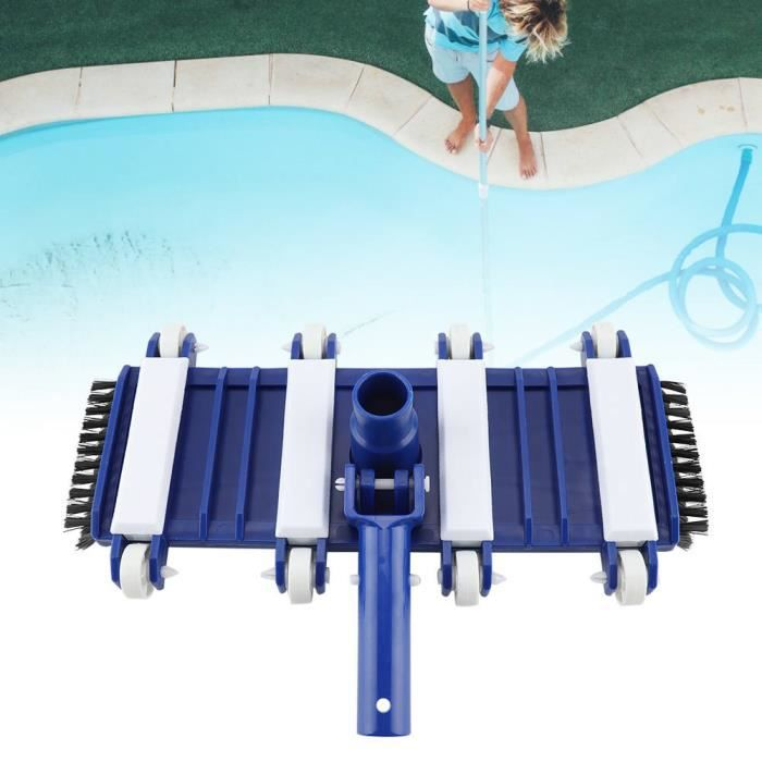 Tête d'aspiration de spa et de piscine flexible avec brosses latérales Tête d'aspirateur de piscine à roues professionnelle -
