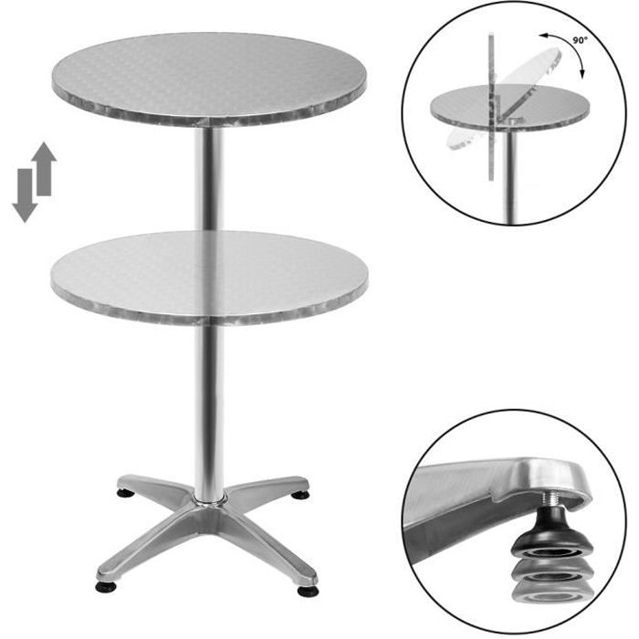 Table de bar 2en1 alu hauteur réglable - 70cm/115cm - Cuisine jardin terrasse