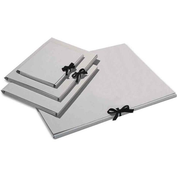 Carton à Dessin en Carton 500g 500 x 700 mm Fermeture Ruban Coton Gris