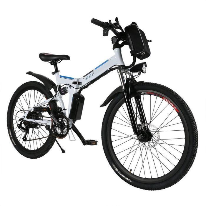 Vélo électrique montagne 27 km/h 8AH/36V 250W 26 pouces cadre pliant kilométrage ≥40KM 7 vitesses Blanc UK