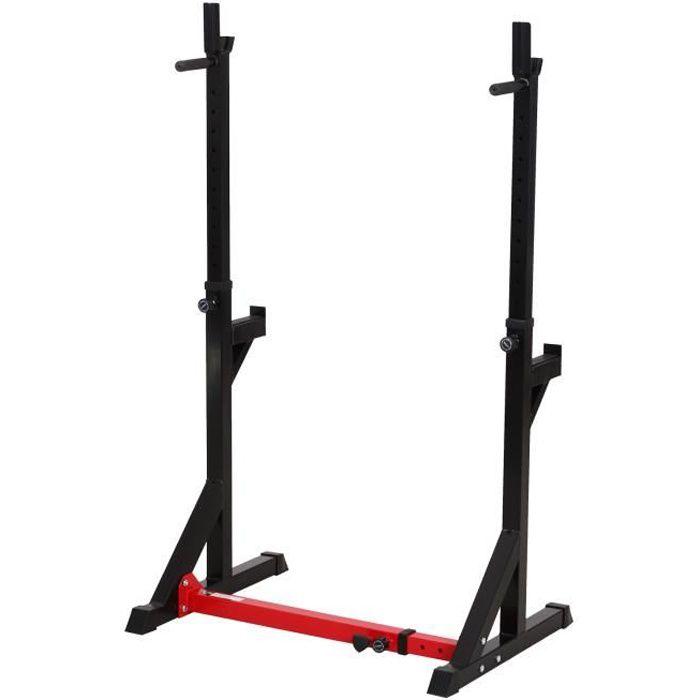 Gravity squat rack - support pour haltères longs - hauteur et longueur réglable - charge max. 150 Kg - acier renforcé rouge noir