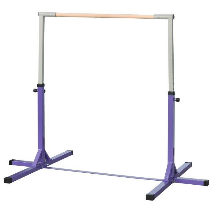 Barre fixe de gymnastique enf 210x10x6,5cm Violet