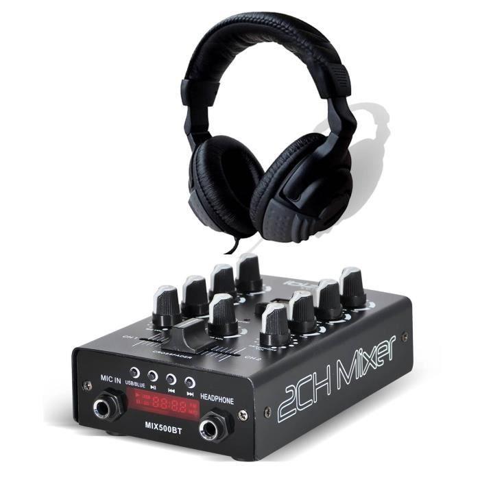 Pack Table de mixage Dj Sono USB Bluetooth IBIZA SOUND MIX500-BT + Casque audio