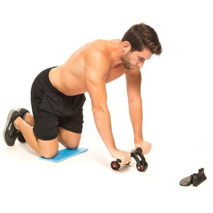 3 Roue Abdominale avec tapis de mousse, AB Roller aux genouillère abdominale Formateurs pour Exercices, Body Fitness Musculation
