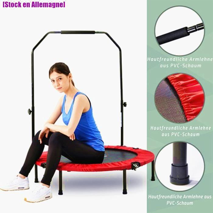 Mini Trampoline 40- Rebondeur de fitness pliable mini trampoline avec poignée en mousse ajustable, charge max. 100 kg, Ø 102 cm, rou