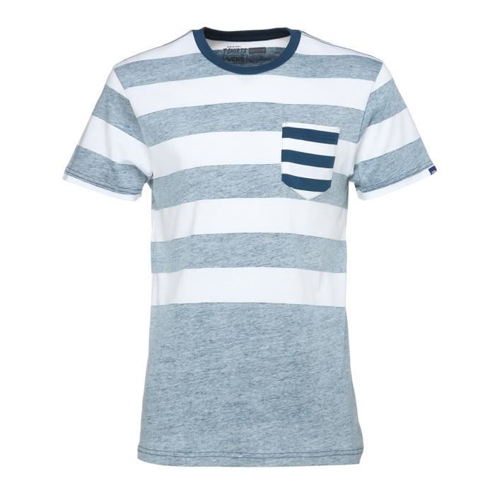 VANS T-Shirt Stripe Out Blanc Poséidon Homme