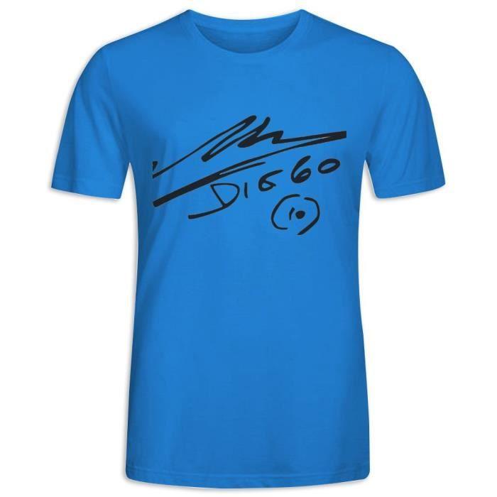 T-shirt multicolore imprimé à manches courtes avec personnalité de la mode Diego Armando Maradona pour hommes