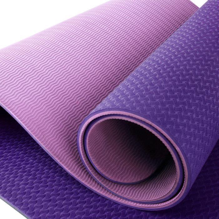OneTwoFit Tapis de sol Tapis de yoga Tapis de sport Tapis de gym TPE 183 cm x 61 cm x 0.8 cm OT165PKPP