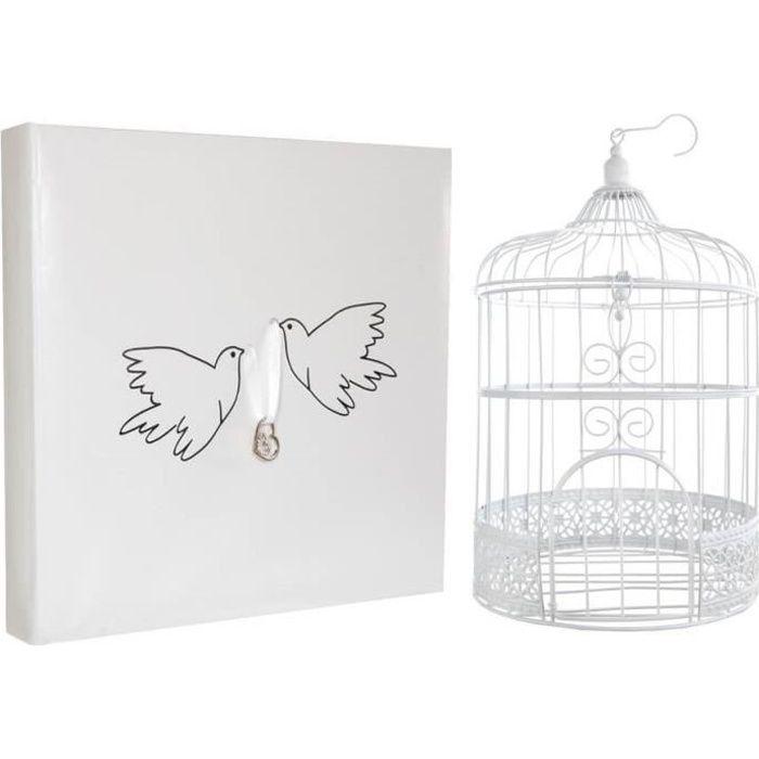 R/3871-3032- 1 Pack mariage colombes avec urne cage et livre d'or