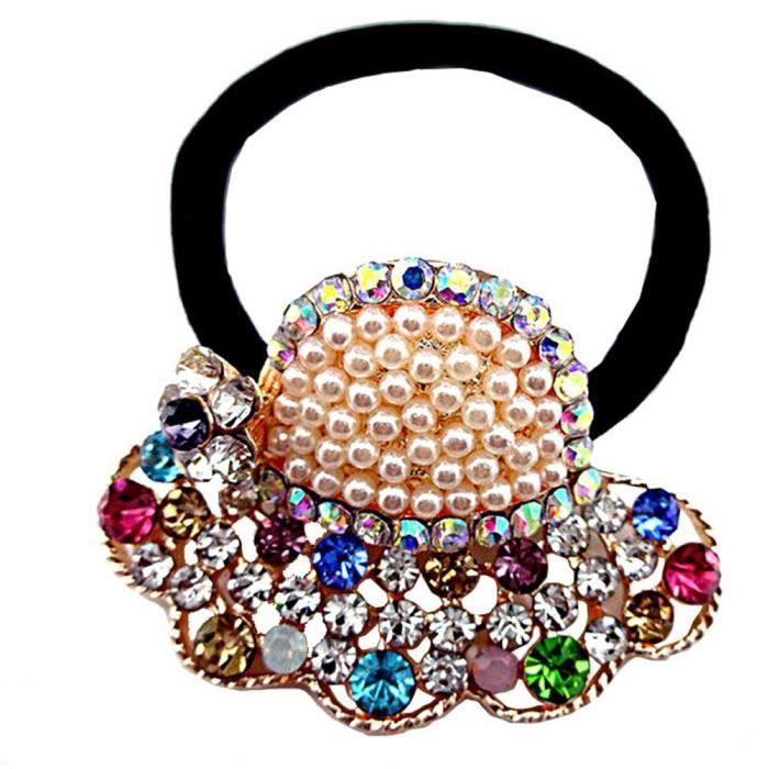 1 pièces Top élastique Cristal Perle S ass Motif pour femme Cheveux Cravate Queue de cheval Queue de cheval Chev