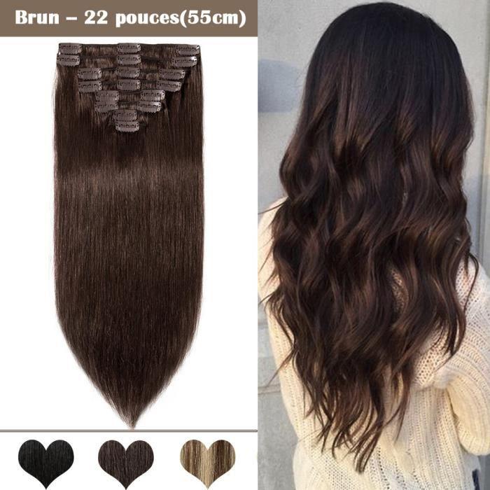 8 Bandes Extensions a Clips Cheveux Naturels Epaisseur Moyenne - Brun(22 pouces-55cm) - 100% Remy Human Hair